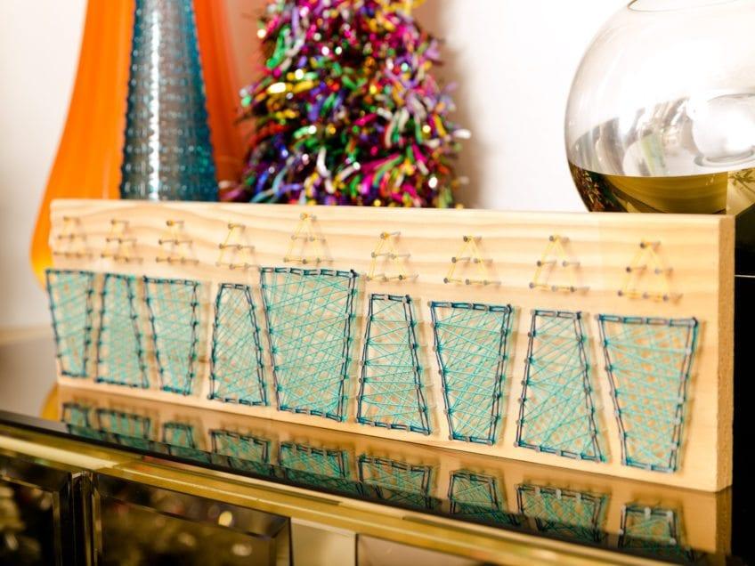 DIY string art menorah for Hanukah