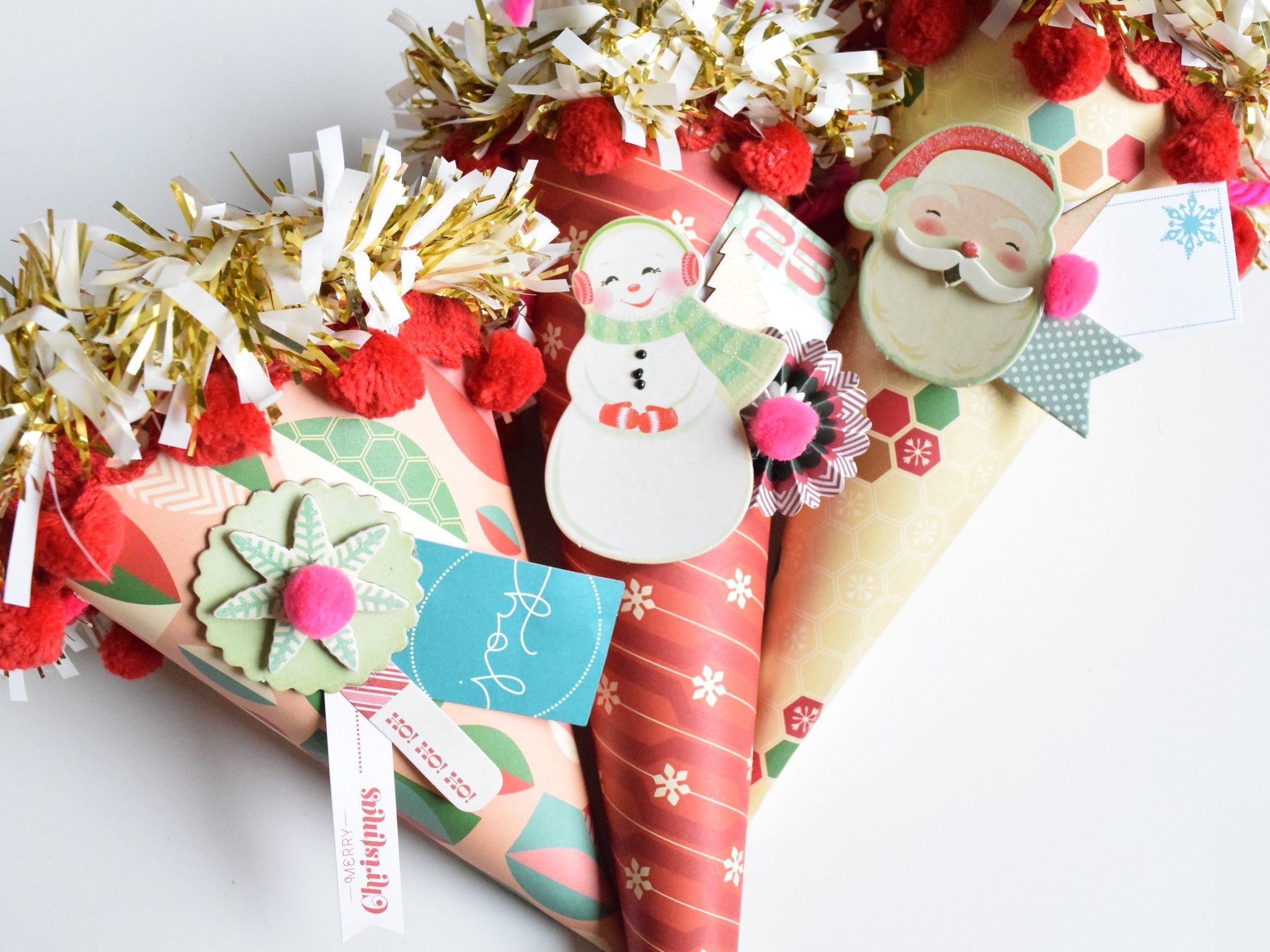 Vintage style Christmas cones as wrapping paper by Jennifer Perkins