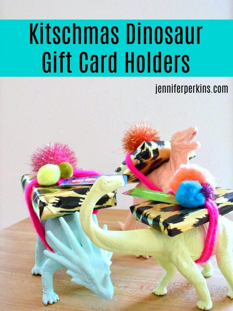 Kitschy DIY dinosaur gift card holders by Jennifer Perkins