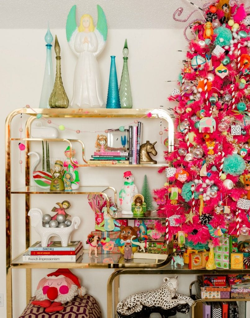 Pink Christmas tree and styled Kitschmas etagere by Jennifer Perkins