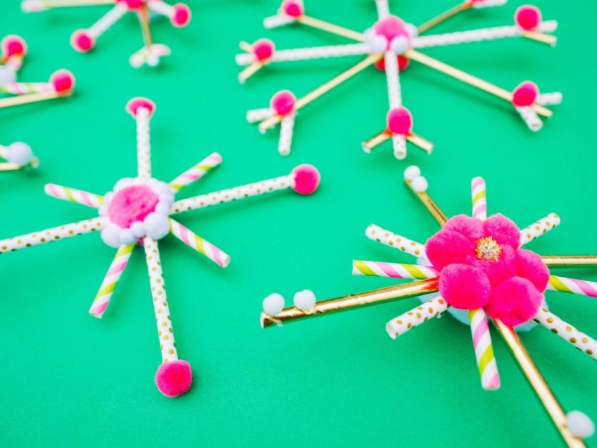 How to make snowflakes out of straws.