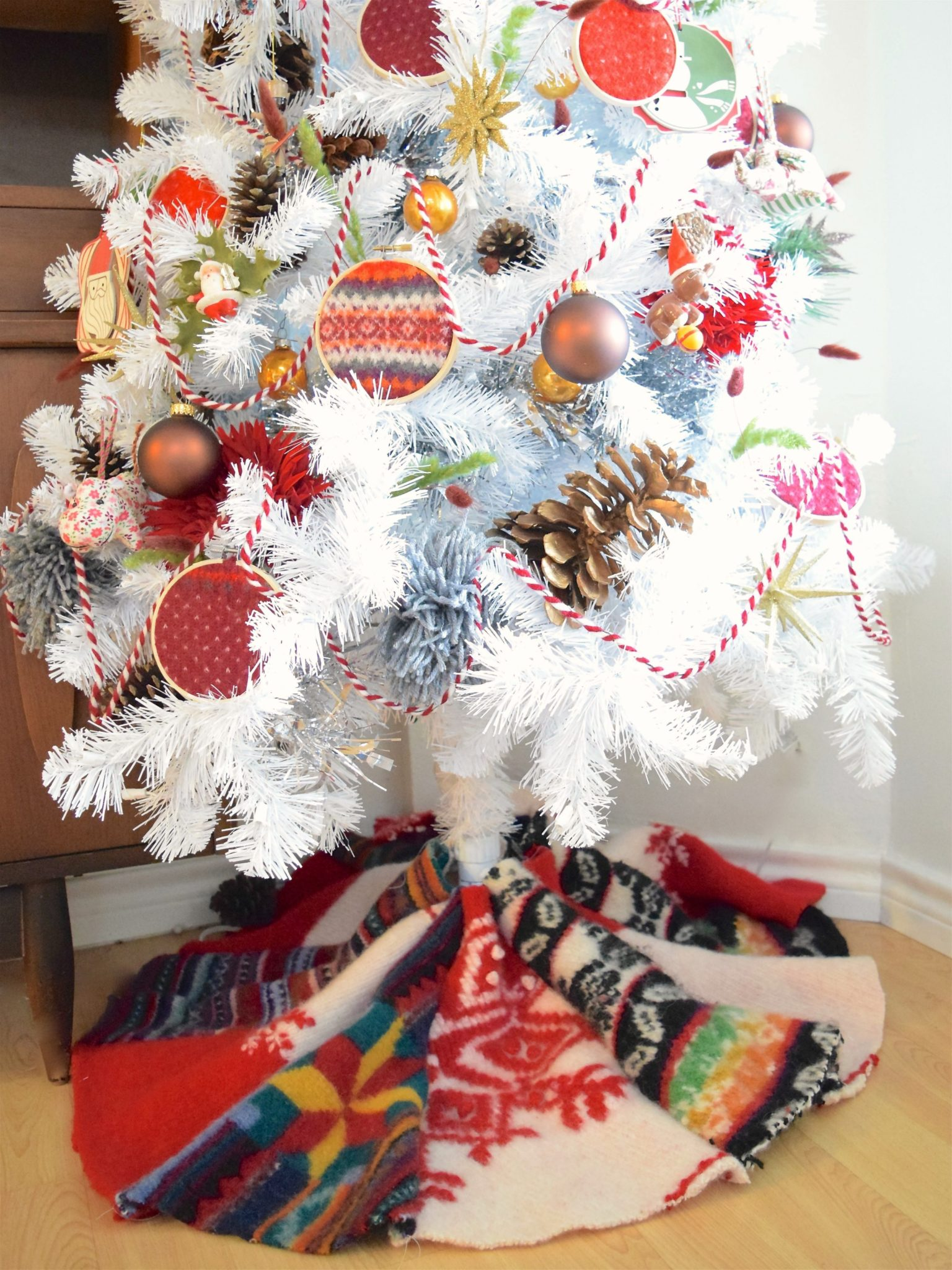 DIY Christmas tree skirt made from a felted wool sweater by Jennifer Perkins
