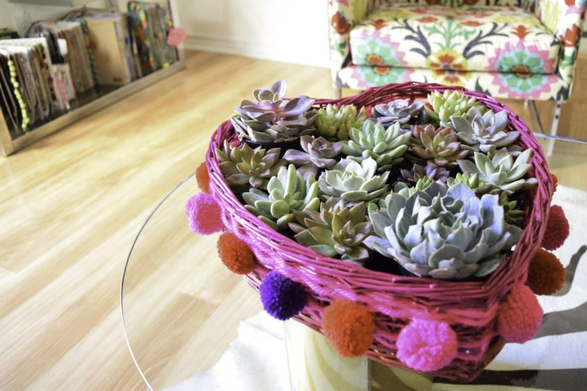 Easy dyed wicker valentine planter.