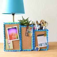 How to make an easy DIY cork covered desk caddy.