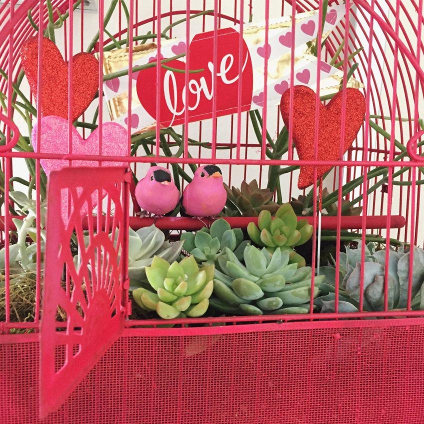 Make a birdcage into a planter.