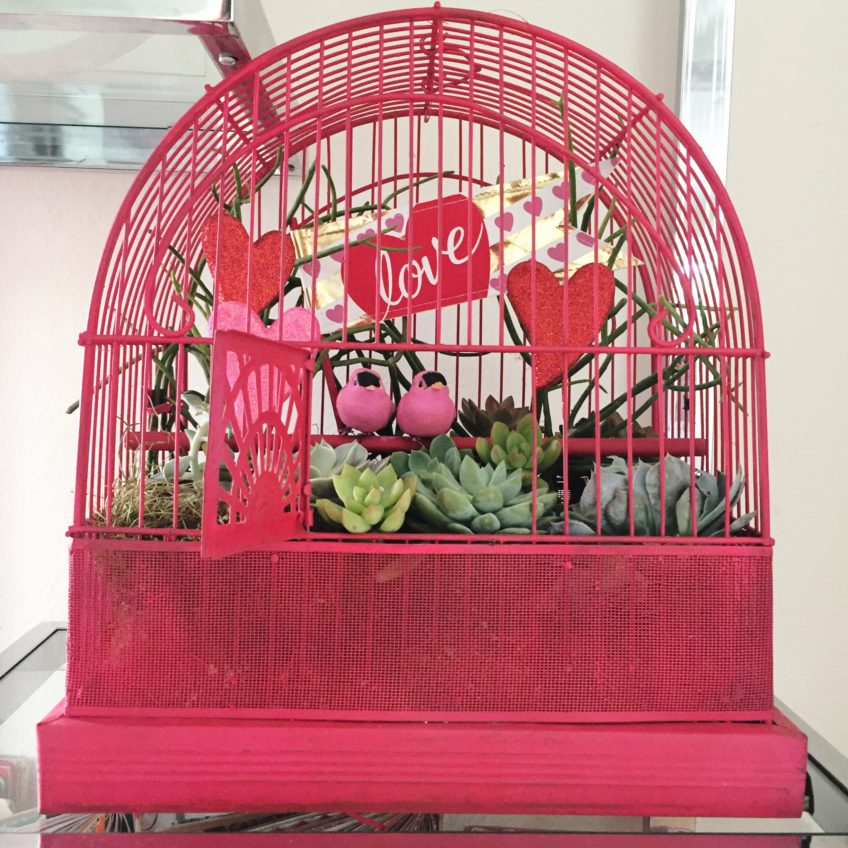 DIY Lovebirds birdcage planter by Jennifer Perkins.