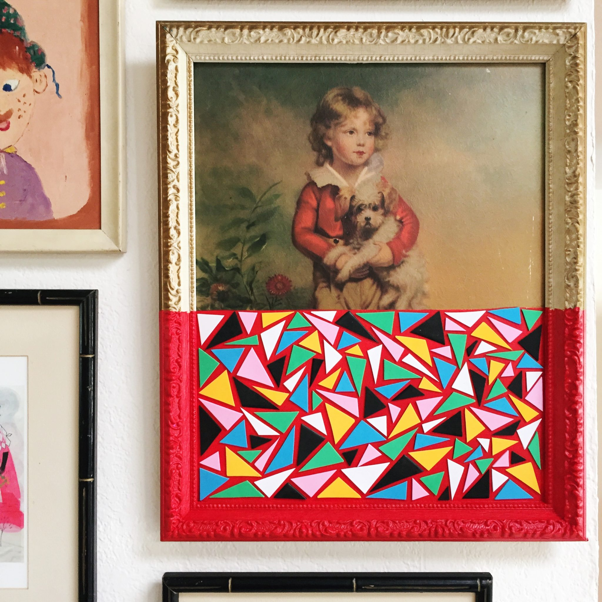 How to spice up thrift store art with foam stickers and paint.