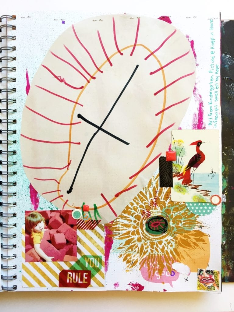Art journaling with your kids drawings.