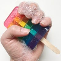 How to make rainbow soap popsicles.