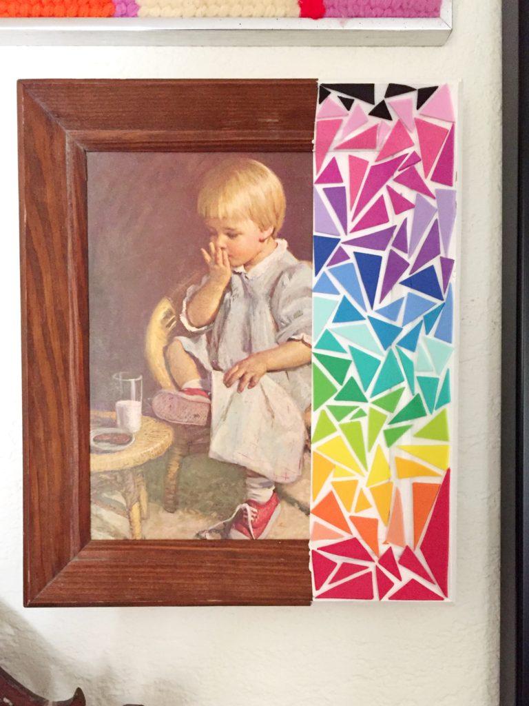 Making rainbow thrift store art.