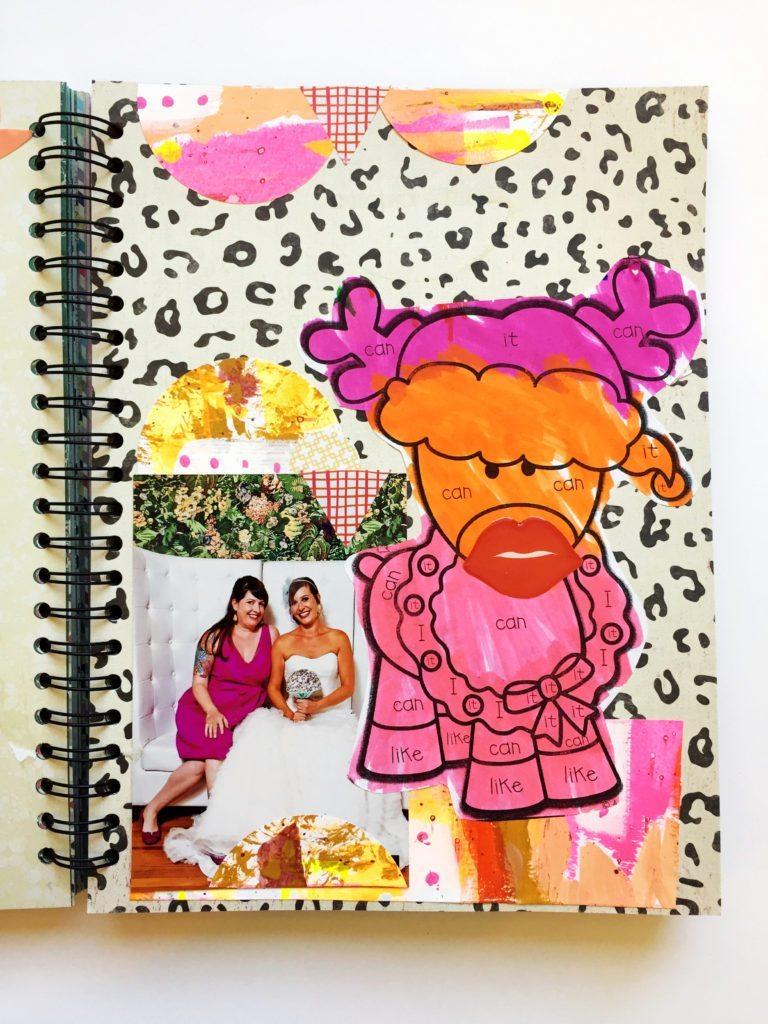 Working kids art into journals.