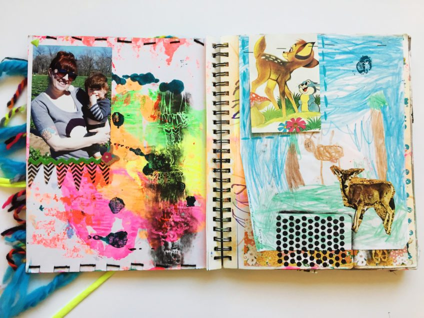 Incorporating your kids art into your scrapbooks.