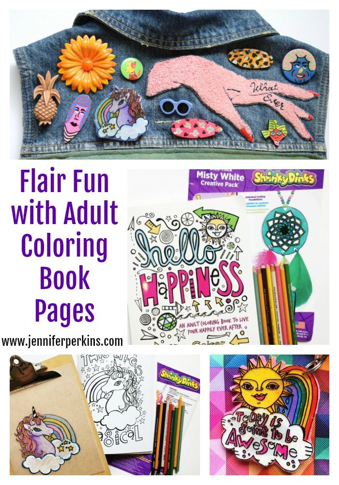 Easy flair from adult coloring books and Shrinky Dinks by Jennifer Perkins