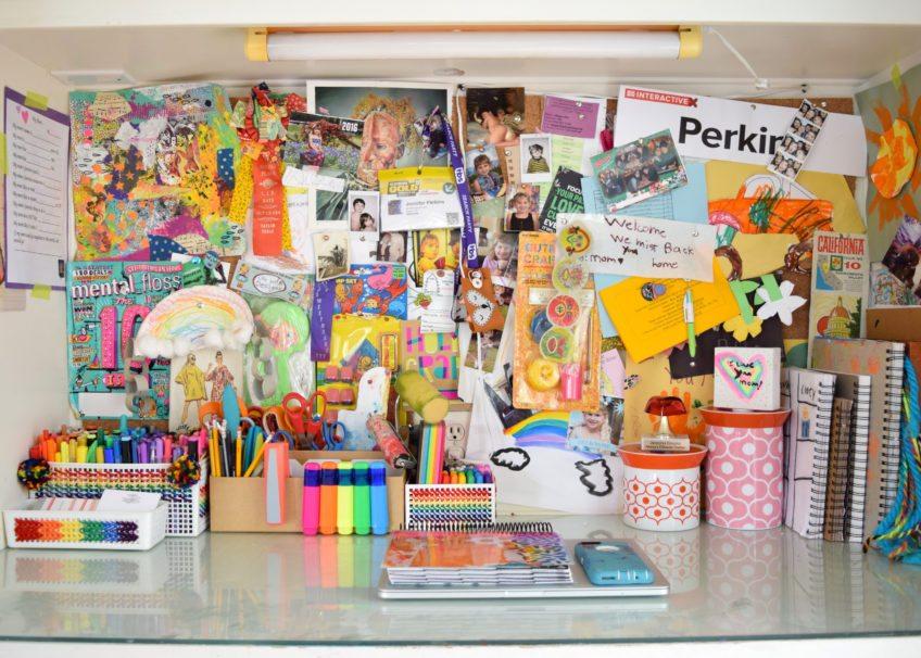 Colorful DIY desk accessories.