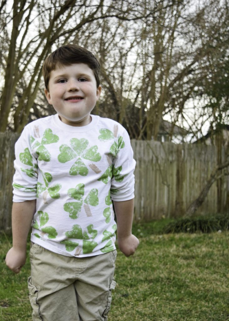 DIY potato stamped shirt for St. Patrick's Day
