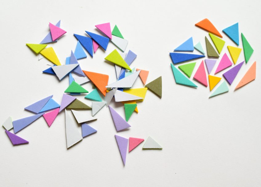 Cut out craft foam triangles.