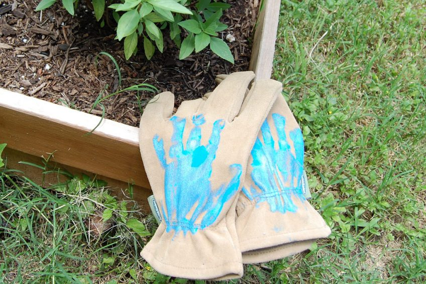 Gardening glove gifts with children's hand prints.