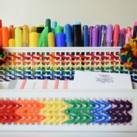 How to weave a rainbow onto a plastic container.