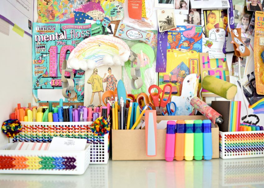 Colorful rainbow stitched desk storage.