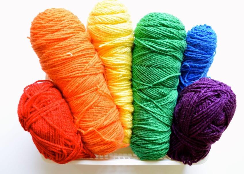 A selection of rainbow yarn.