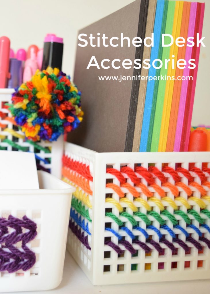 How to stitch colorful DIY desk storage.
