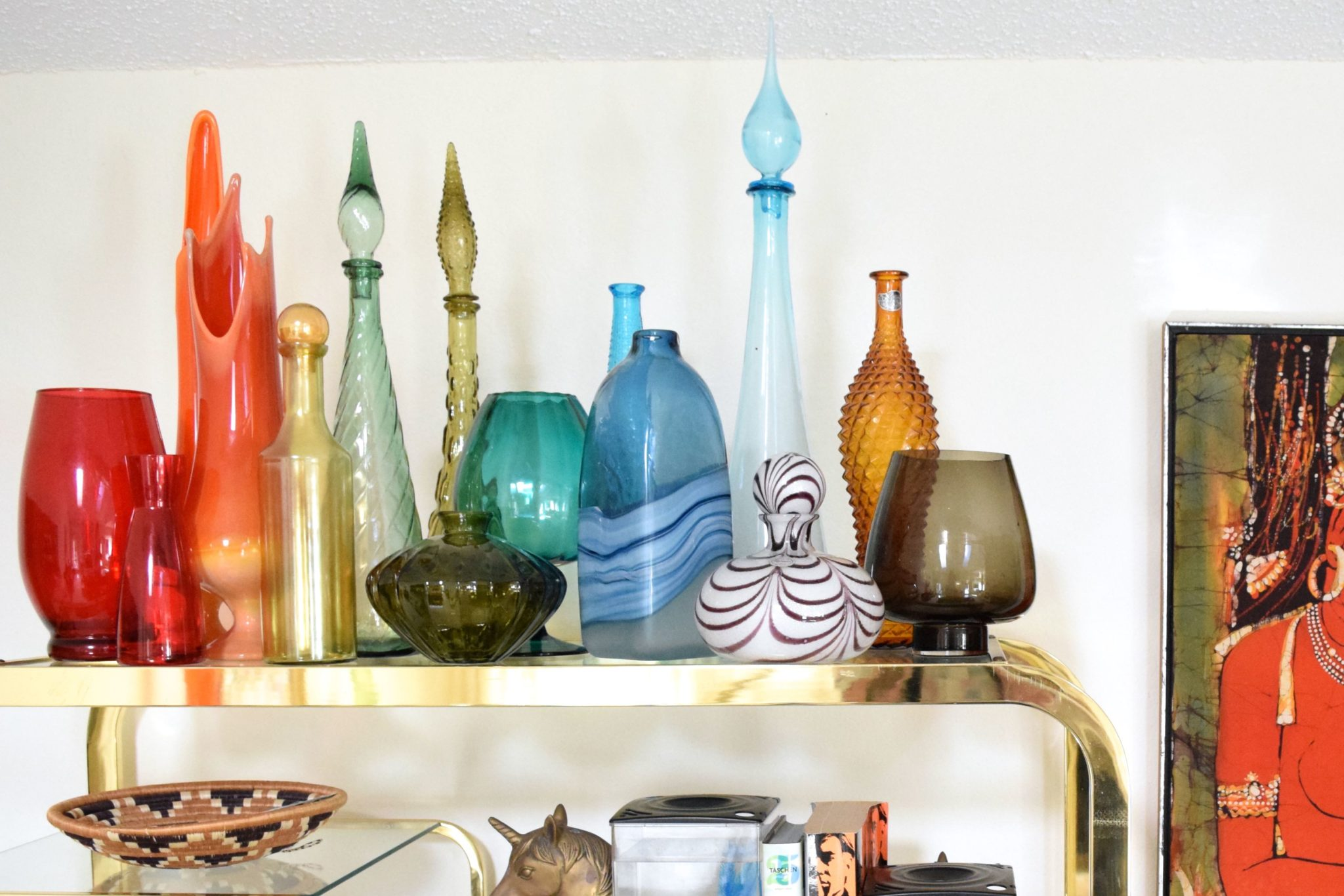Gathering a collection of colored glass.