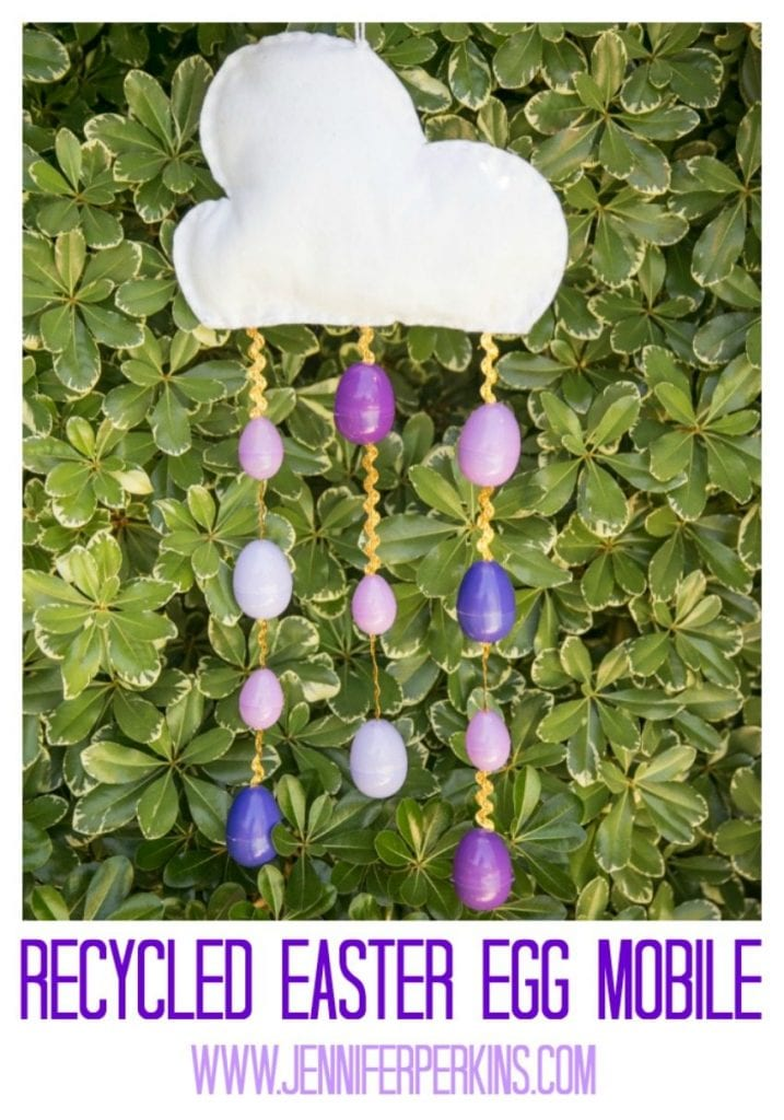 Recycled Easter egg mobile.