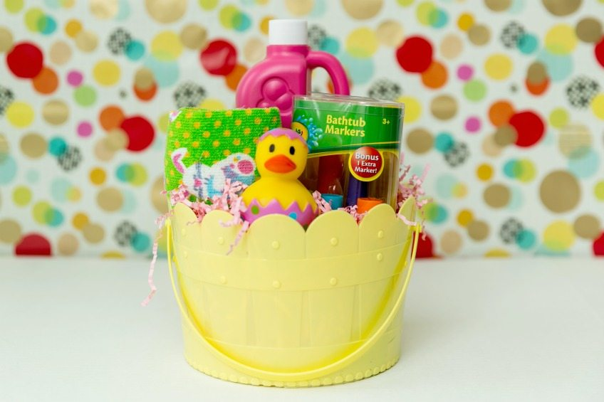 Bubble bath themed Easter basket ideas.