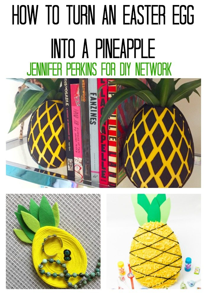 DIY Ideas for turning an Easter egg into a pineapple.