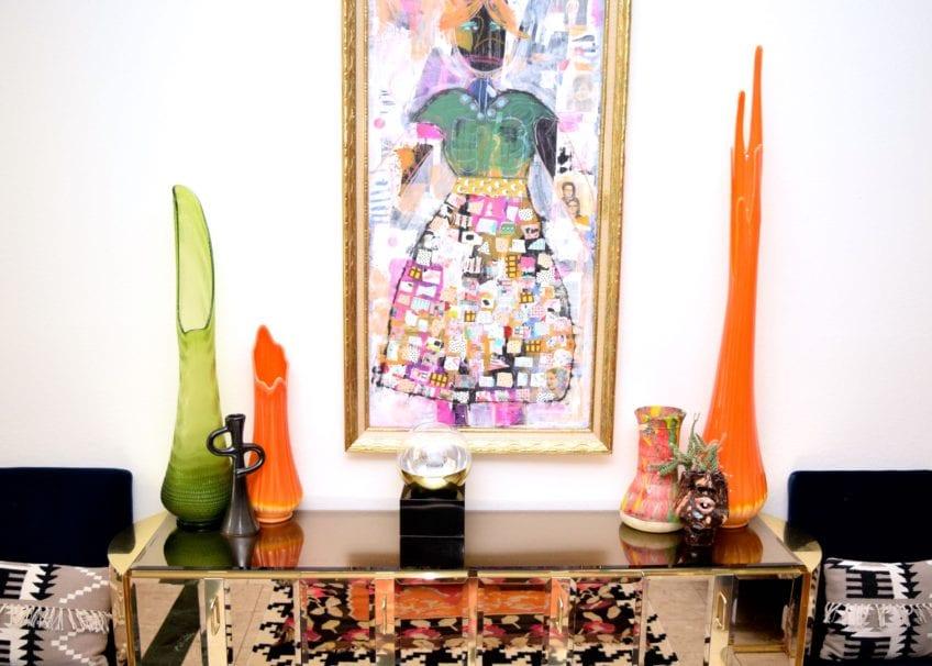 Mirrored credenza in Jennifer Perkins home.