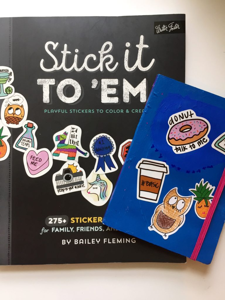 Sticker covered journals for kids.
