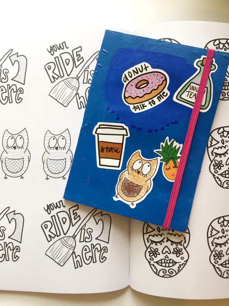 A coloring book sticker set.