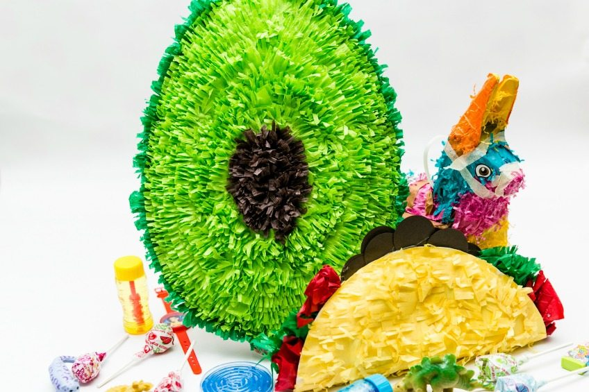 How to make an avocado piñata from a paper plate.