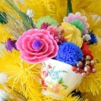 Yellow tree for Mother's Day with DIY tea cup bouquets by Jennifer Perkins