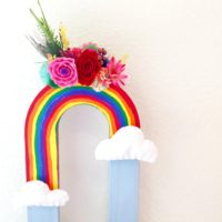 Cardboard Letter U turned into a rainbow vase by Jennifer Perkins