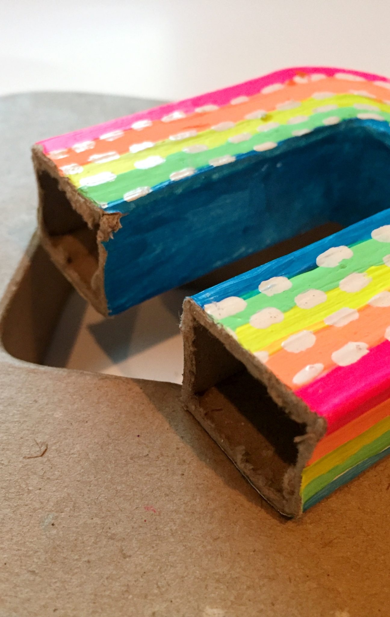 How to make cardboard letters into rainbow vases by Jennifer Perkins