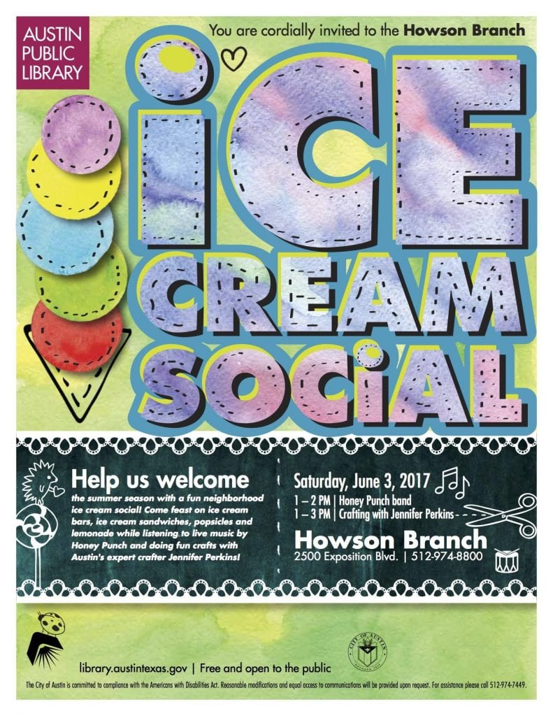 Free ice cream crafts at the Austin Public Library.