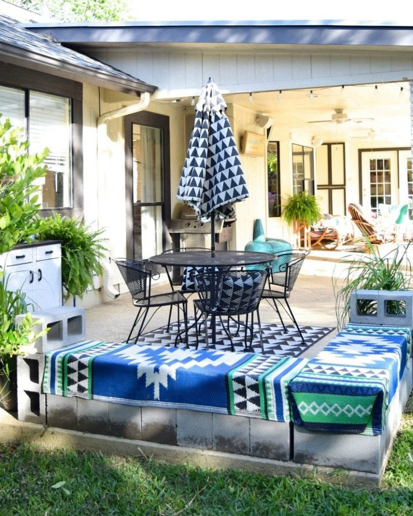 DIY Cinderblock Bench by Jennifer Perkins