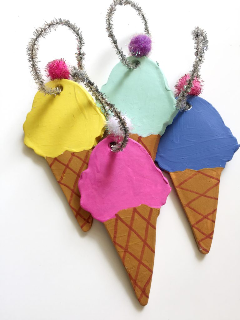 Diy Air Dry Clay Ice Cream Cone Ornaments For Christmas In July