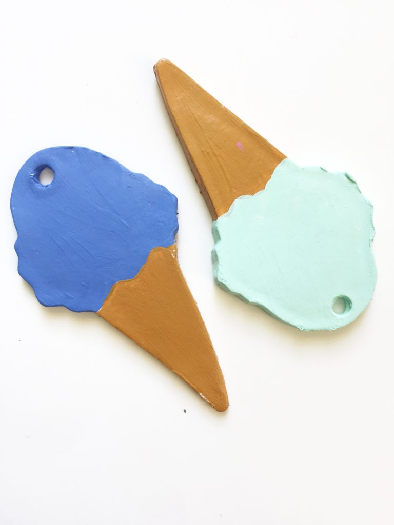 Ice Cream cone Ornaments made from air dry clay by Jennifer Perkins