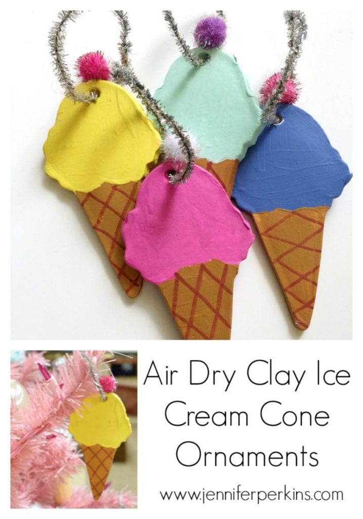 How to make air dry clay ice cream cone ornaments by Jennifer Perkins