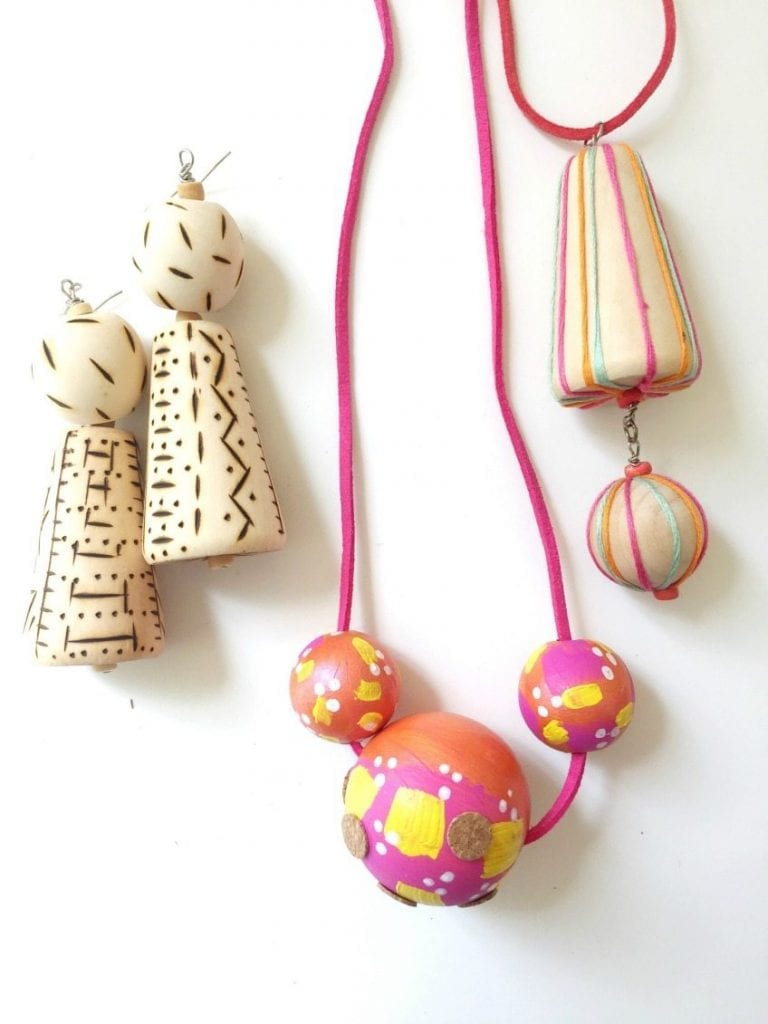 Ideas for transforming wooden beads by Jennifer Perkins
