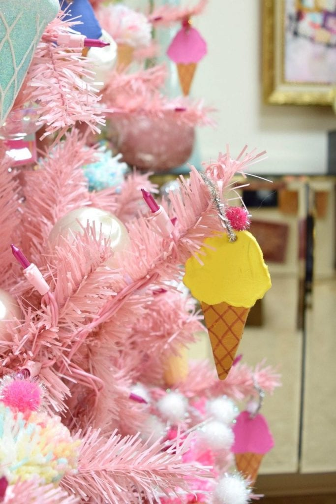 Clay ice cream cone ornaments by Jennifer Perkins