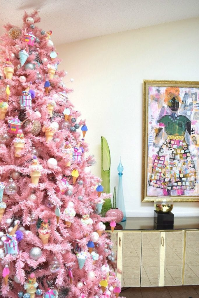 pink ice cream themed christmas tree by jennifer perkins - Pink Christmas Tree Decorations