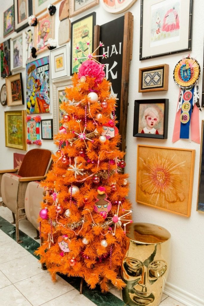 Groovy Retro Inspired Orange and Pink Christmas Tree by Jennifer Perkins