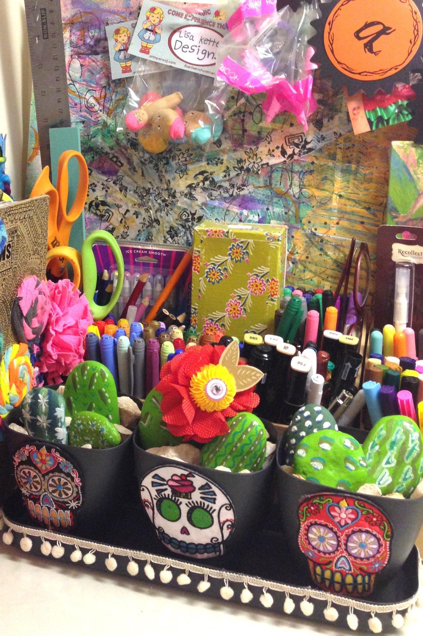 DIY Dia de los Muertos planter with painted rock cactus garden by Jennifer Perkins