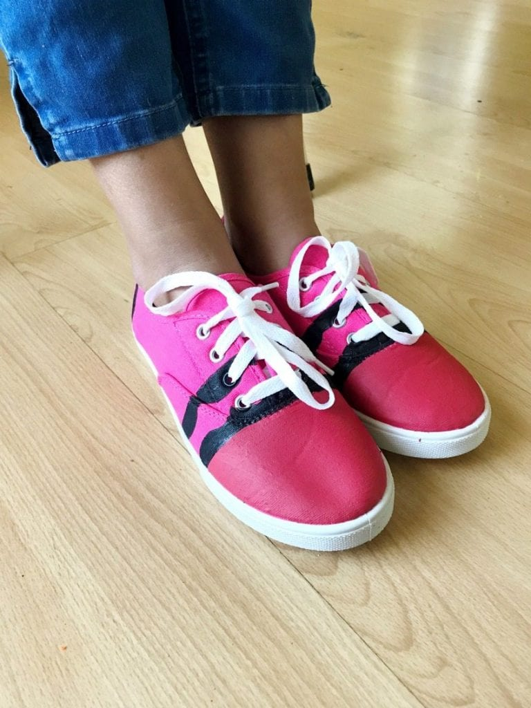 DIY a pair of tennis shoes to look like a crayon for back to school by Jennifer Perkins