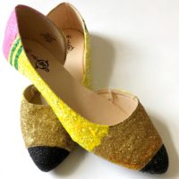 DIY glitter pencil shoes by Jennifer Perkins