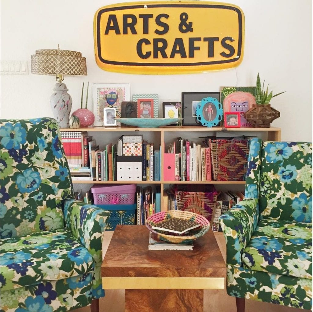 Arts and Crafts sign at Jennifer Perkins house.