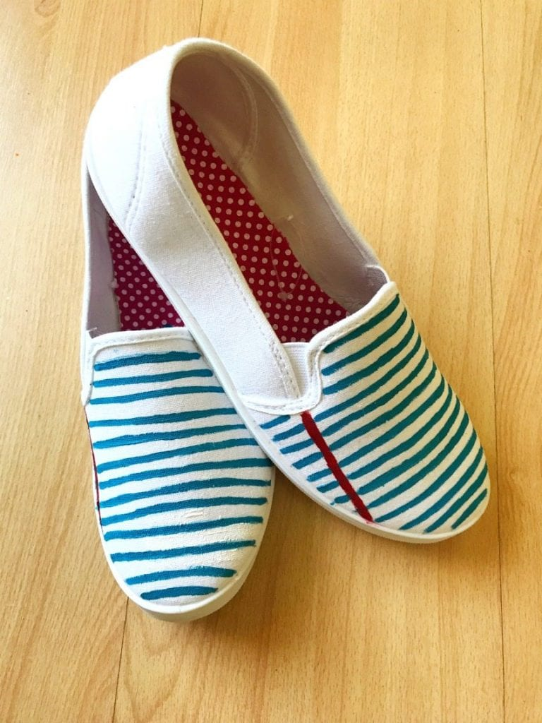 DIY Notebook Paper Inspired Shoes by Jennifer Perkins